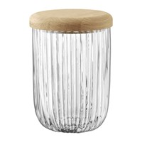 Lsa International Pleat Glass Container And Oak Lid