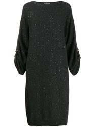 Brunello Cucinelli Sequinned Knit Dress Grey