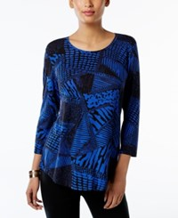 Jm Collection Printed T Shirt Only At Macy's Blue Sahara Text