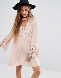 Kiss The Sky High Neck Swing Dress With Lace Inserts And Choker Neck Pink