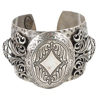 Miss Ellie Antique Locket Cuff Bracelet Silver