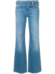 Cambio Belted Bootcut Jeans Blue