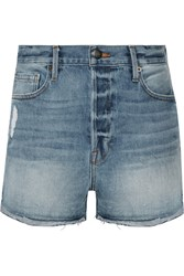 Frame Le Original Tulip Distressed Denim Shorts Light Denim