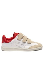 Isabel Marant Beth Leather And Suede Trainers Red White