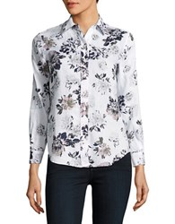 Lord And Taylor Petite Floral Linen Shirt White