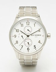 Ben Sherman Spitalfields Multi Function Bracelet Watch In Silver Silver