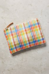 Anthropologie Clare V Madras Pouch Madras Weave