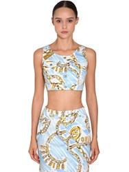 Moschino Printed Cotton Denim Crop Top Multicolor
