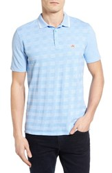 Ben Sherman Men's Check Pique Polo Tonic Blue