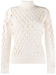 Fendi High Collar Pullover Neutrals