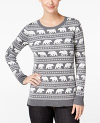 G.H. Bass And Co. Animal Graphic Sweater Heather Steel Grey Combo