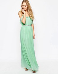 Asos Cold Shoulder Maxi Dress With Embellished Waist Mint Green