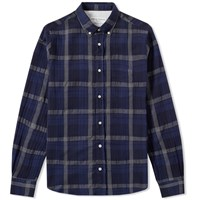 Officine Generale Button Down Japanese Twill Shirt Blue