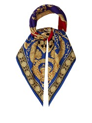Versace Baroque And Leopard Print Silk Twill Scarf Red