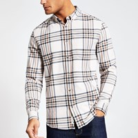 River Island Ecru Check Regular Fit Long Sleeve Shirt Beige