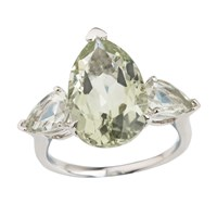 Emily Mortimer Jewellery Aqua Prasiolite Pear Ring Green Silver