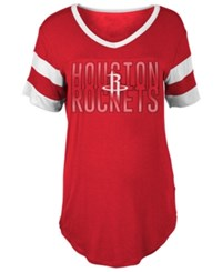 5Th And Ocean Women's Houston Rockets Hang Time Glitter T Shirt Red