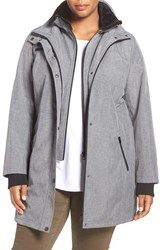 Jessica Simpson Plus Size Women's Anorak With Faux Fur Trim Heather Grey