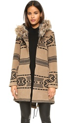 Bb Dakota Brenden Jacquard Coat W Fur Trim Hood Churro