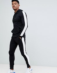 Asos Design Tracksuit Muscle Hoodie Extreme Super Skinny Joggers With White Side Stripe In Black