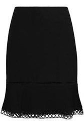 Dkny Woman Lace Trimmed Satin Crepe Skirt Black