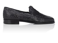 Barneys New York Woven Leather Loafers Navy