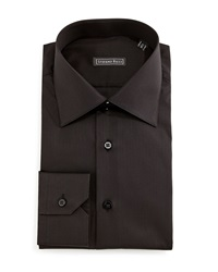 Stefano Ricci Solid Button Down Dress Shirt Black