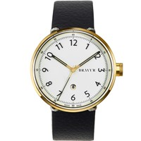 Bravur Watches Gold With White Numeral Dial Black Strap White Gold