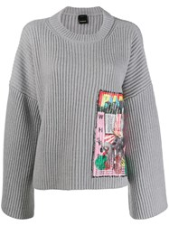 Pinko Sequin Embroidered Jumper Grey
