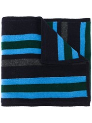 Pringle Of Scotland Striped Knitted Scarf Blue