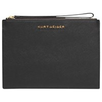 Kurt Geiger Saffiano Leather Wristlet Pouch Black