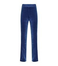 Escada Sport Satin Trim Velour Sweatpants Female Blue