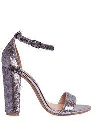 Steve Madden 100Mm Sequined Metallic Leather Sandals
