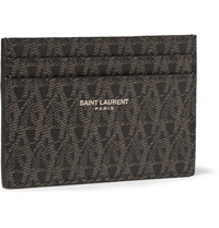 Saint Laurent Printed Faux Textured Leather Cardholder Brown