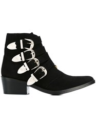 Toga Multi Buckle Ankle Boots Black