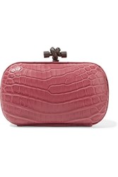 Bottega Veneta The Knot Crocodile Clutch Pink