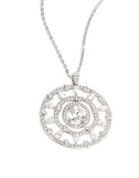 Nadri Cubic Zirconia Large Circle Pendant Necklace Silver