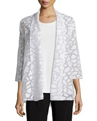 Caroline Rose Animal Spot Mid Length Cardigan White Women's
