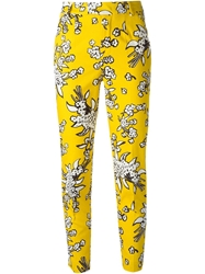 Red Valentino Cropped Floral Print Trousers Yellow And Orange
