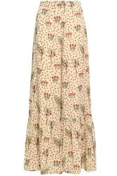 Red Valentino Floral Printed Stretch Silk Chiffon Wide Leg Pants Peach