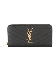 Saint Laurent Monogram Zip Around Wallet Black