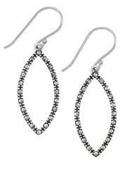 Lord And Taylor Sterling Silver Marcasite Open Marquise Drop Earrings