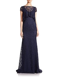 Theia Lace Overlay Gown Navy