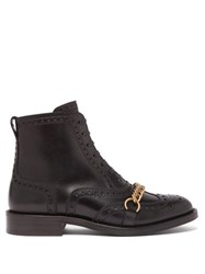 Burberry Barksby Brogue Leather Ankle Boots Black