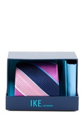 Ike Behar Large Texture Stripe Silk Tie And Handkerchief Pink
