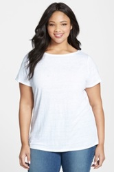 Eileen Fisher Organic Linen Boatneck Tee Plus Size White