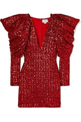 Redemption Draped Sequined Chiffon Mini Dress It44 Red