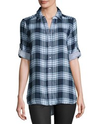 Raison D'etre Plaid Roll Tab Sleeve Blouse Medieval B