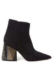 Marni Point Toe Suede Ankle Boots Black Multi