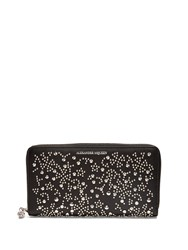 Alexander Mcqueen Stud Embellished Zip Around Leather Wallet Black Multi